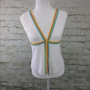 Cable & gauge petites white sleeveless laces Top